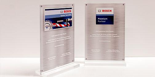 Acrylglas Aufsteller der besonderen Art im Direktdruck, Plattendruck bedruckt