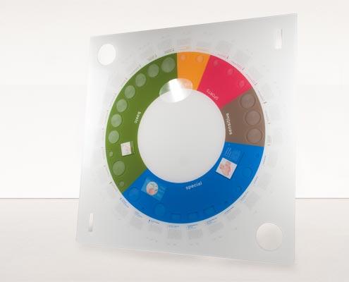 In hächster Qualität und leuchtenden Farben im Plattendirektdruck, Plattendruck auf Acrylglas, hinter Acrylglas mit Fräsung und Konturenfräsen in der Manufaktur in Pforzheim