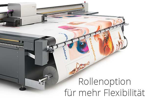 Direktdruck, Plattendruck mit der Rollenoption ermöglicht flexiblen Einsatz von Rollenmaterial